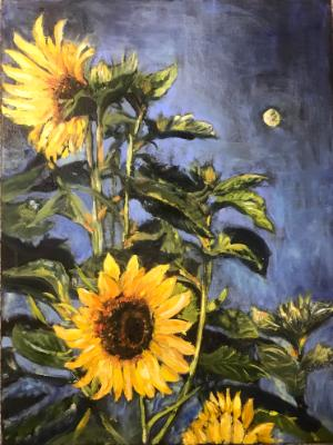 Sunflowers in Moonlight