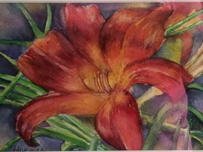 Day Lily Bloom/ Framed watercolor/ SGH