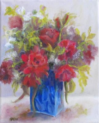 Red Roses in Blue Vase