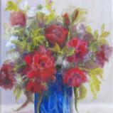 Red Roses in Blue Vase