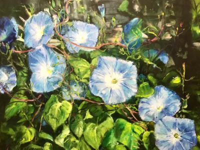 Sold-Trellis Morning Glories- oil on canvas 20x24