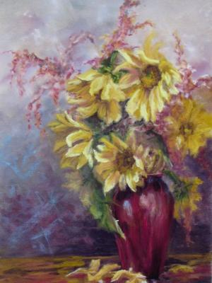 Sunflowers in Red Vase
