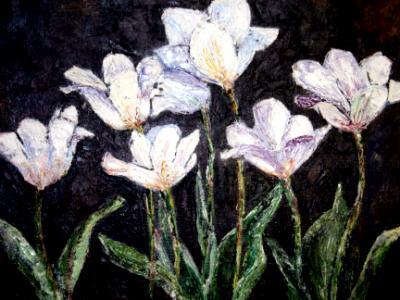 White Tulips Oil on Panel SGH
