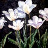 White Tulips at Night Oil on Panel SGH