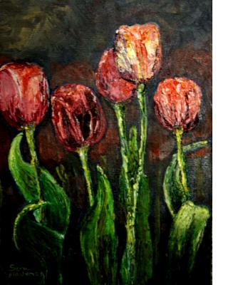 Red Tulips oil on Panel SGH - Sold