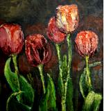 Sold-Red Tulips oil on Panel SGH - Sold
