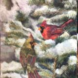 Sold- January Cardinal Pair in snowy Spruce Tree